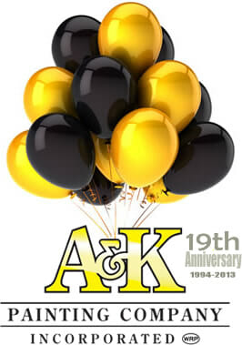 A&K Painting Company 19th Anniversary Celebration balloons and A&K Logo